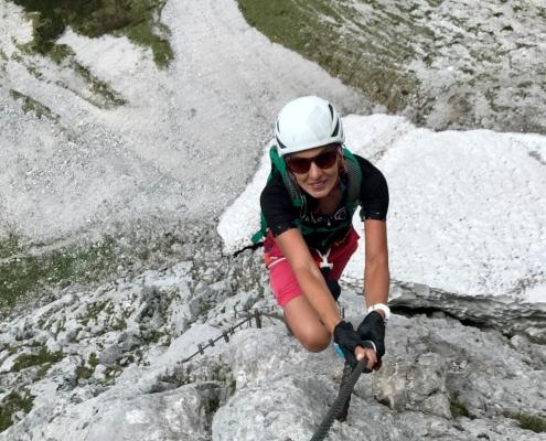 Lydia am Anna Klettersteig